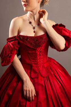 Miguel Sobreira BLONDE WOMAN IN RED GOWN AND NECKLACE