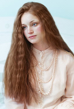 Tijana Moraca SERIOUS GIRL WITH LONG RED HAIR AND PEARLS