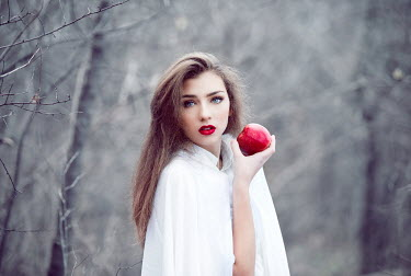 Tijana Moraca GIRL WITH RED LIPS AND APPLE IN FOREST
