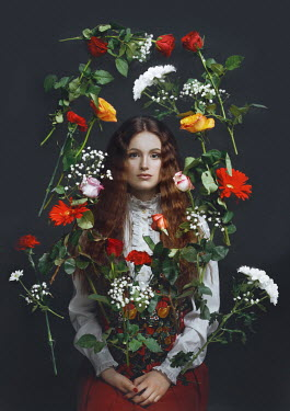 Tijana Moraca GIRL SITTING SURROUNDED WITH FLOWERS
