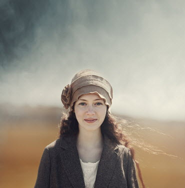Anna Buczek SMILING GIRL WITH HAT OUTDOORS