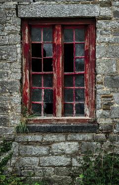 Rodney Harvey BROKEN RED WINDOW IN OLD STONE HOUSE
