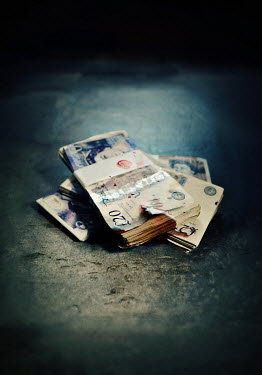 Lyn Randle STACK OF BURNT ENGLISH MONEY