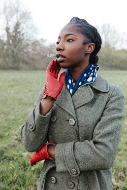 Matilda Delves RETRO WOMAN WITH RED GLOVES IN COUNTRYSIDE