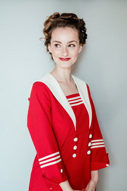 Shelley Richmond HAPPY WOMAN IN RED SAILOR DRESS