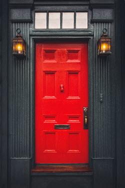 Evelina Kremsdorf BUILDING WITH RED DOOR AND LANTERNS