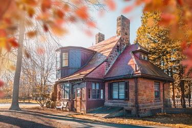 Evelina Kremsdorf HISTORICAL HOUSE WITH AUTUMN TREES