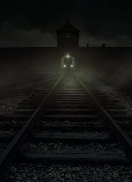 Jaroslaw Blaminsky CONCENTRATION CAMP WITH TRAIN AT NIGHT