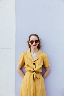 Matilda Delves RETRO WOMAN WITH SUNGLASSES AND YELLOW DRESS
