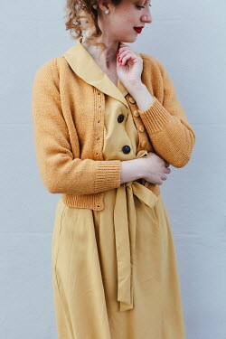 Matilda Delves RETRO WOMAN IN YELLOW DRESS AND CARDIGAN