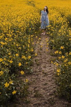 Esme Mai BRUNETTE WOMAN IN FIELD OF YELLOW FLOWERS