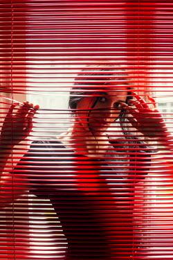 Ebru Sidar WOMAN WITH DARK HAIR PEEPING THROUGH BLINDS