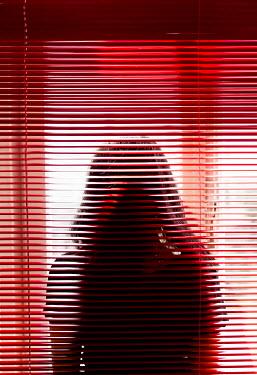 Ebru Sidar WOMAN WITH DARK HAIR BEHIND RED BLINDS