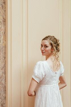 Matilda Delves BLONDE REGENCY WOMAN IN WHITE DRESS