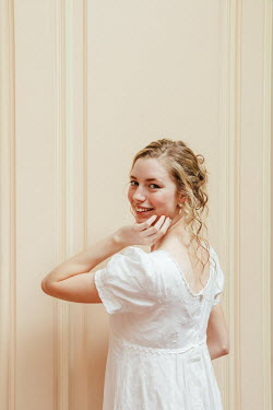 Matilda Delves HAPPY BLONDE REGENCY WOMAN IN WHITE DRESS
