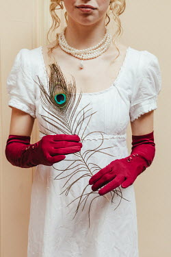 Matilda Delves BLONDE REGENCY WOMAN WITH RED GLOVES AND FEATHER