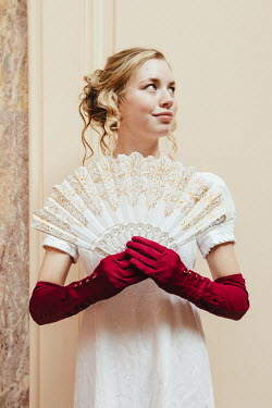 Matilda Delves BLONDE REGENCY WOMAN WITH RED GLOVES AND FAN