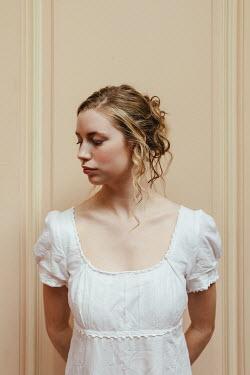 Matilda Delves SERIOUS BLONDE REGENCY WOMAN IN WHITE DRESS