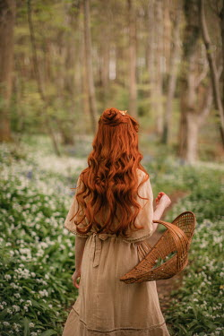 Rebecca Stice WOMAN WITH RED HAIR AND BASKET IN SPRING FOREST
