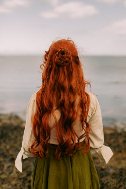 Rebecca Stice WOMAN WITH LONG RED HAIR WATCHING SEA