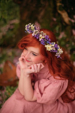 Rebecca Stice HAPPY WOMAN WITH RED HAIR AND GARLAND