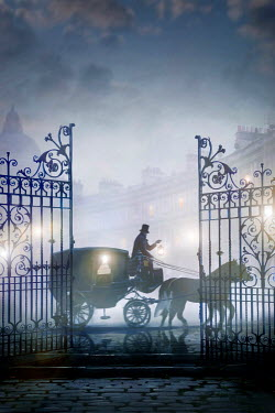 Lee Avison horse drawn carriage with coachman at night