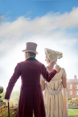 Lee Avison Regency couple in the grounds of a mansion house