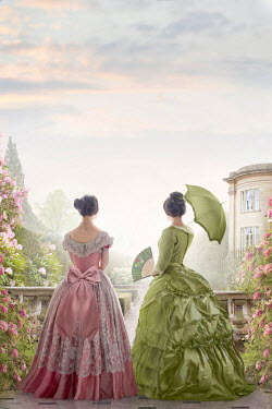 Lee Avison two victorian women in the garden