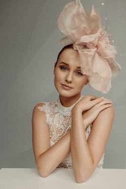Marina Chebanova WOMAN IN LACE DRESS WITH SILK HAT