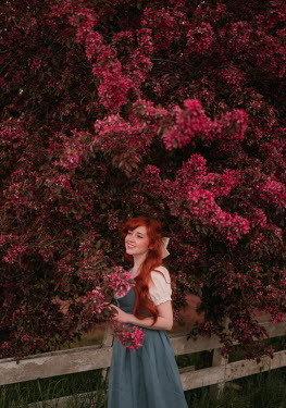 Rebecca Stice HAPPY GIRL WITH RED HAIR BY PINK TREE