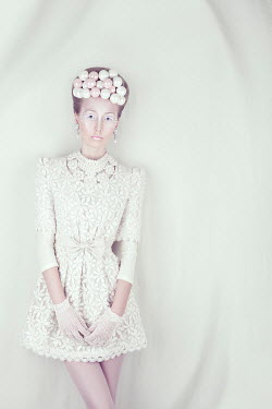 Marina Chebanova WOMAN WITH WHITE MAKE UP AND PEARL JEWELLERY