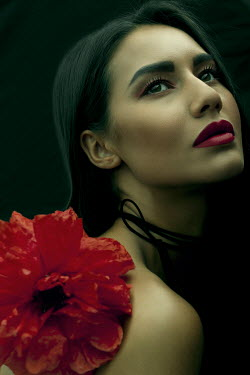 Marina Chebanova WOMAN WITH RED LIPS AND LARGE FLOWER