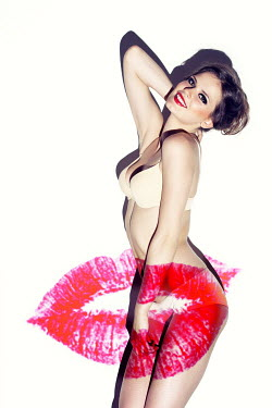 Marina Chebanova MOUTH WITH PINK LIPSTICK PROJECTED ON UNDRESSED WOMAN