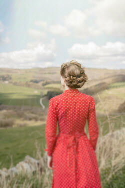 Shelley Richmond RETRO WOMAN IN RED WATCHING COUNTRYSIDE