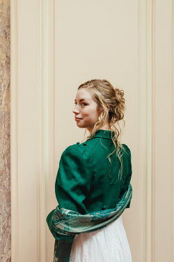 Matilda Delves BLONDE HISTORICAL WOMAN WITH WRAP INDOORS