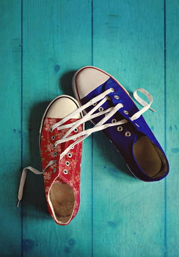 Lyn Randle BLUE AND RED SNEAKERS LACED TOGETHER