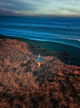 Mary Wethey GIRL WITH RED HAIR WATCHING SEA AT DUSK