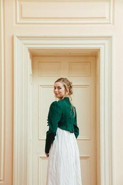 Matilda Delves BLONDE HISTORICAL WOMAN BY DOORWAY INSIDE