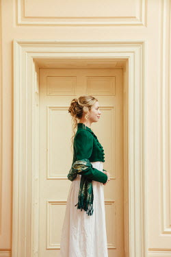 Matilda Delves BLONDE HISTORICAL WOMAN BY CLOSED DOOR INSIDE
