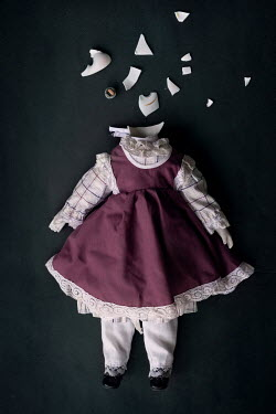 Maria Petkova BROKEN DOLL WITH BROWN HAIR AND PURPLE DRESS