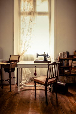 Jane Morley SEWING MACHINE ON TABLE BY WINDOW