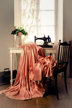 Jane Morley SEWING MACHINE WITH PINK SILK GOWN