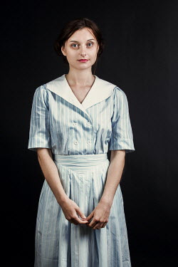 Magdalena Russocka young retro woman standing inside