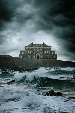 Nic Skerten GRAND HOUSE ON CLIFF WITH STORMY SEA