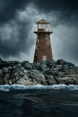 Nic Skerten LIGHTHOUSE ON ROCKS WITH SEA AND STORMY SKY