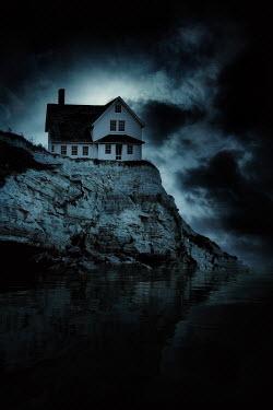 Nic Skerten WHITE HOUSE ON CLIFF BY SEA AT DUSK