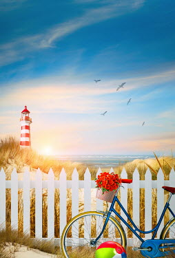 Sandra Cunningham LIGHTHOUSE BICYCLE AND PICKET FENCE BY SEA