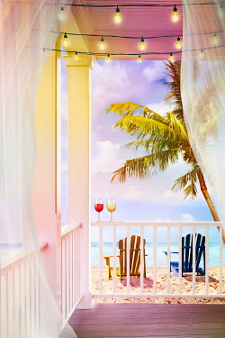 Sandra Cunningham DRINKS ON PORCH WITH CHAIRS ON BEACH