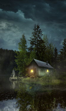 Sandra Cunningham LIGHT SHINING IN CABIN BY RIVER AND FOREST