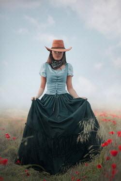 Ildiko Neer Historical woman walking in meadow